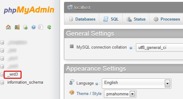 phpMyAdmin WordPress database.