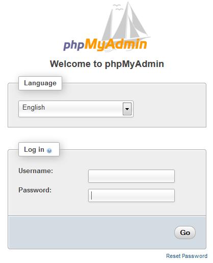 phpMyAdmin login through host.