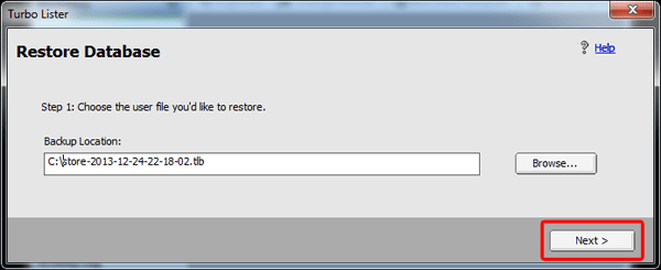 Confirm Turbo Lister backup file.