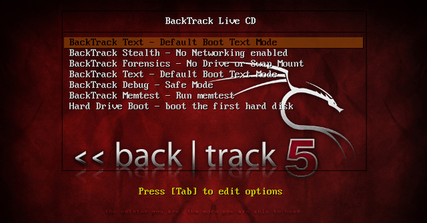 The list of boot options into BackTrack.