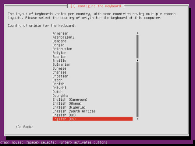 Select your keyboard origin.