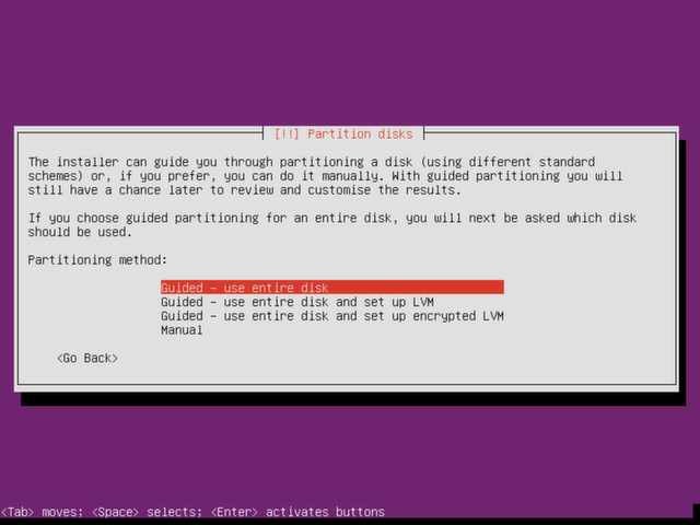 Choose a partitioning method for Ubuntu Server.