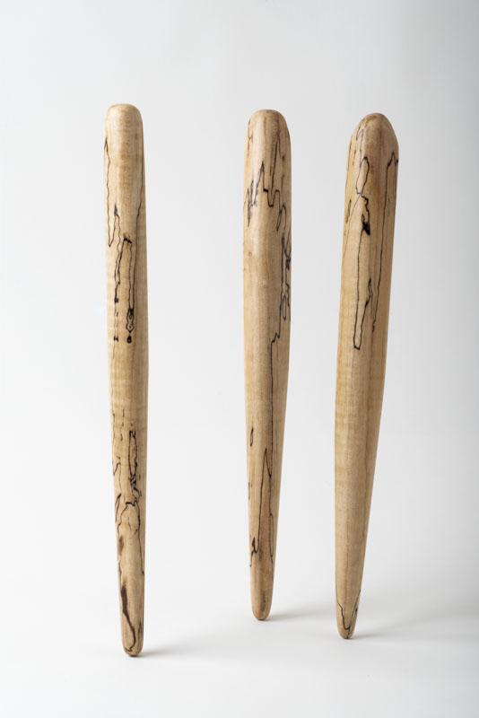 Three spirtles, or spurtles, in spalted birch