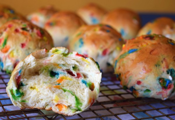 The sprinkles add a colorful bright touch to these traditional hot cross buns!