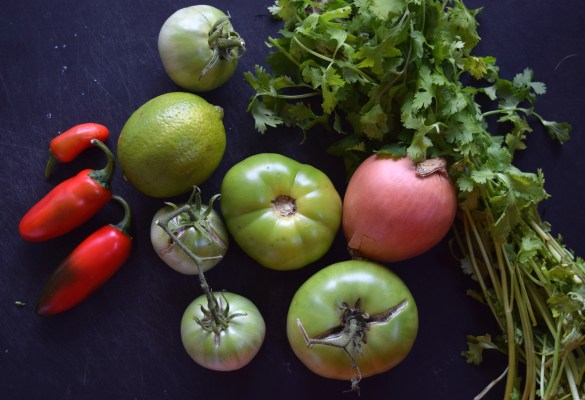 Ingredients for this Pico de Gallo are green tomatoes, onion, spicy peppers, cilantro, and lime.