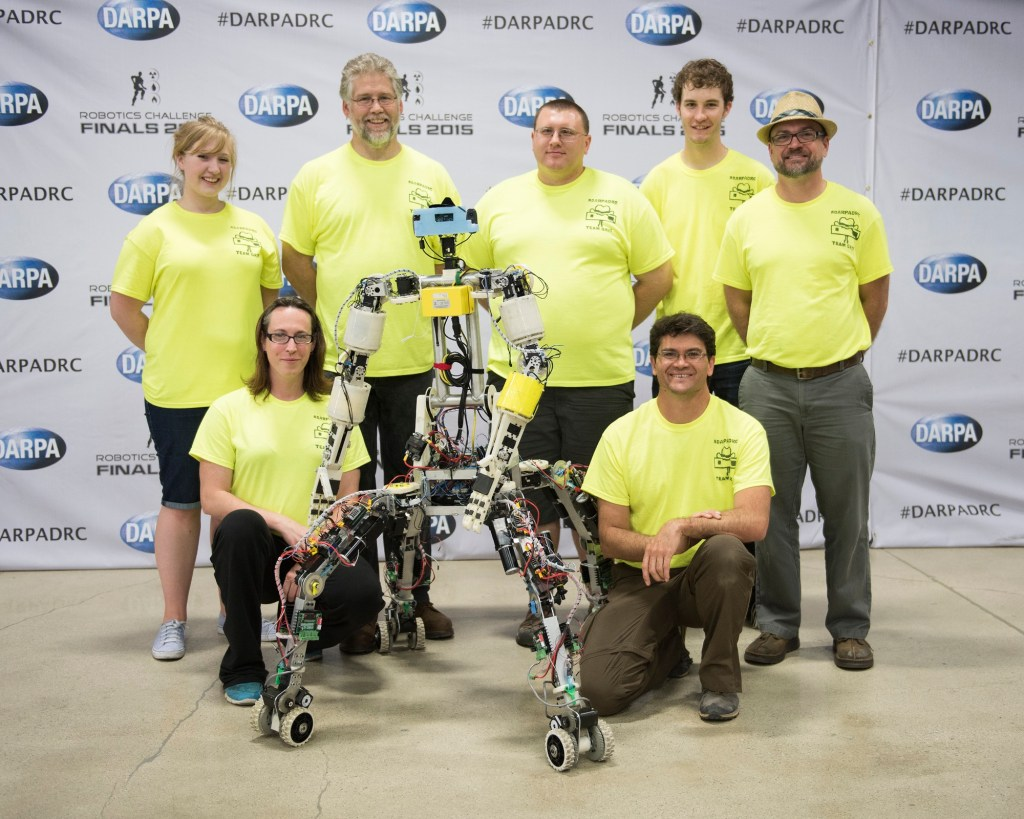 Team Grit posed for a group photo in preparation for the DARPA Robitics Challenge on June 2, 2015 in Ponoma, California. (Photo By: Sun L. Vega, DARPA)