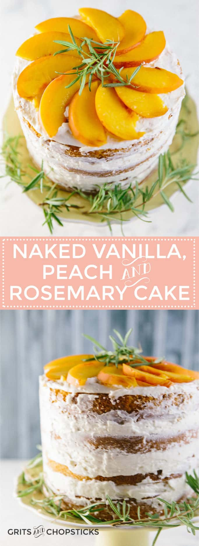 This semi-naked vanilla, peach and rosemary cake frosted with Italian buttercream icing totally hides the fact that I'm not a baker, so it should be easy enough for anyone to make.