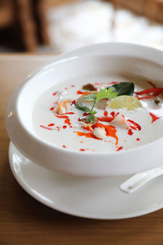 Bowl of spicy Thai coconut soup