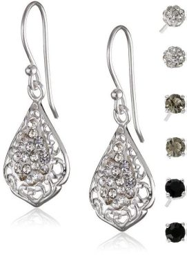 Filigree Tonal Crystal 4-Pair Earrings Set Just $5.88!