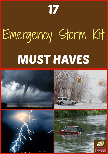 This past winter our electricity was out for a few days during an ice storm and we were COMPLETELY unprepared!  So, I want to share with you 17 Emergency Storm Kit MUST HAVES, so you will be prepared for any type of storm.