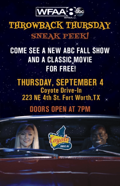 Free Drive-In Movie And New ABC Show Screening In Fort Worth!