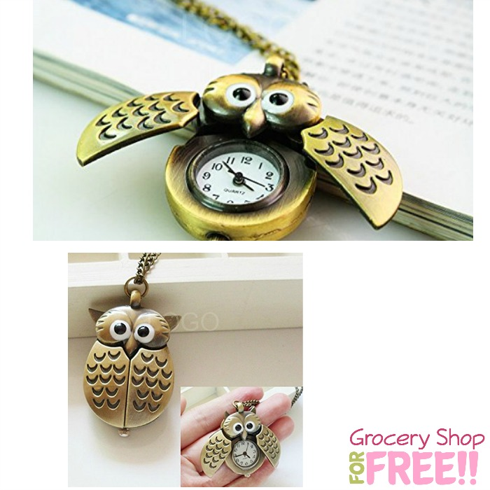 Antique-Style Owl Pocket Watch Necklace