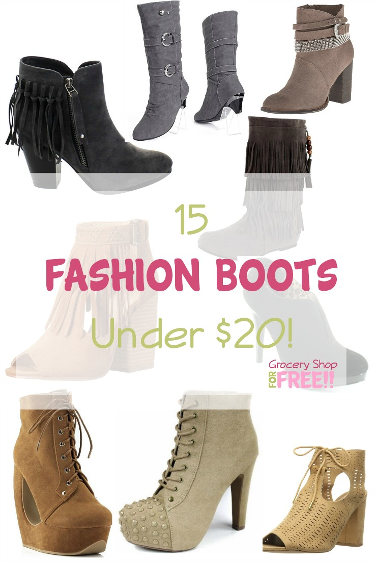 Boots are the perfect fall fashion accessory as well as necessity to keep you cozy in the cold weather.  Whether you need them for function or fashion there is something for everyone!  Check out these 15 Fashion Boots Under $20!