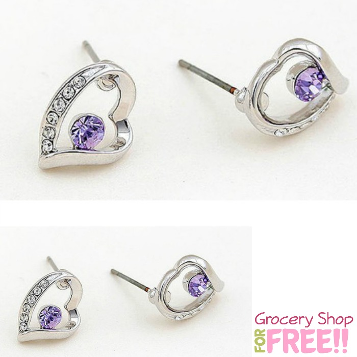 Heart Shaped with Round Purple Swarovski Element Crystal Earrings Only $9.99!  (Reg. $40!)