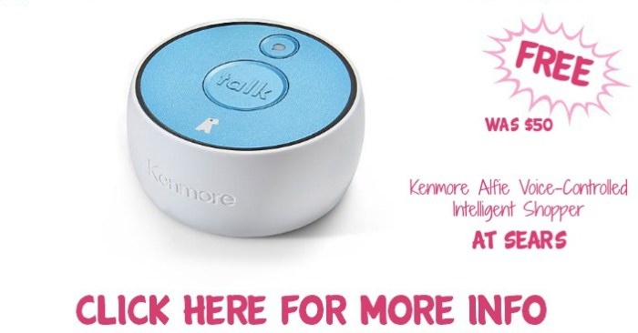 kenmore alfie. free kenmore alfie voice-controlled intelligent shopper! down from $50! l