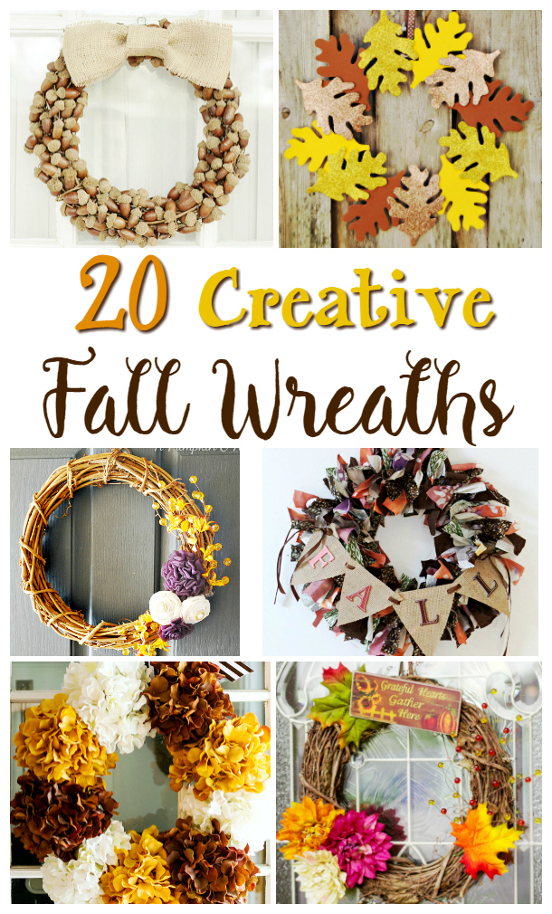 I love the cooler weather of Fall.  The falling leaves, the activities and colors.  I LOVE all of the decor, scarecrows, hay, cornstalks, the oranges and browns, I love it all!  So, I thought it might be fun to share some Creatvie DIY Fall Wreaths, to help you get in the mood and prepared for the season!  Here are 20 wreath tutorials to get your creative juices flowing: