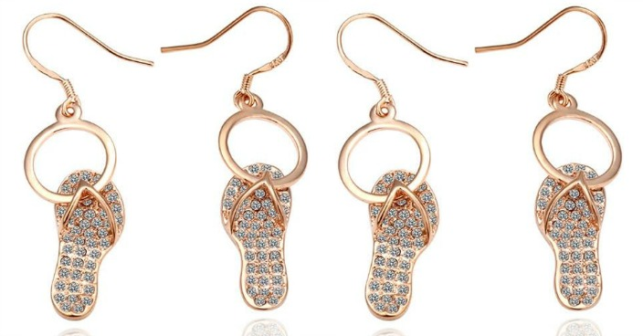 Gold Plated Sandals Drop Earrings Just $9.99! Down From $200! Ships FREE!