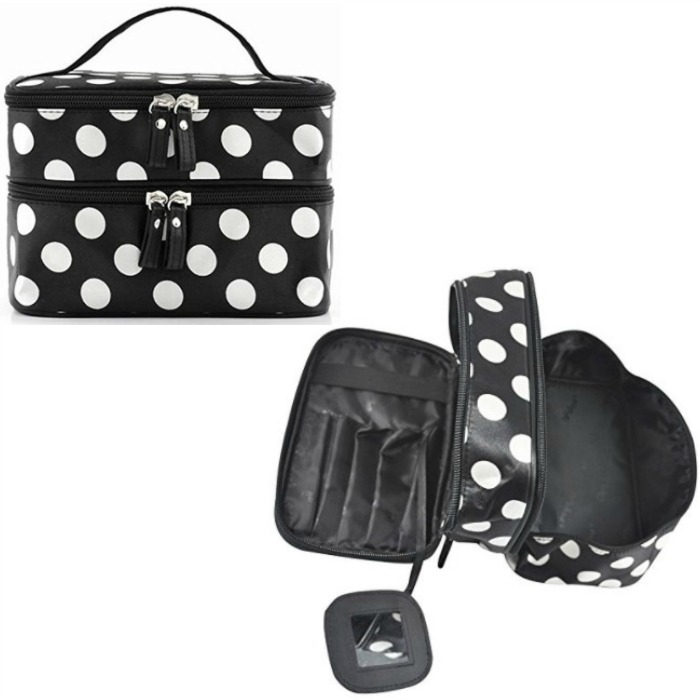 Double Layer Black & White Polka Dot Cosmetic Bag With Mirror Just $4.27 + FREE Shipping!