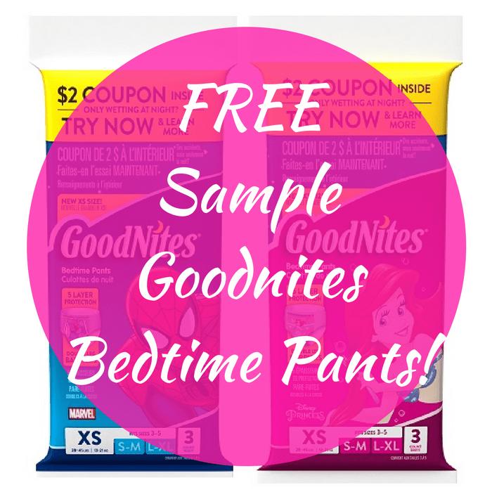 FREE Sample Goodnites Bedtime Pants!
