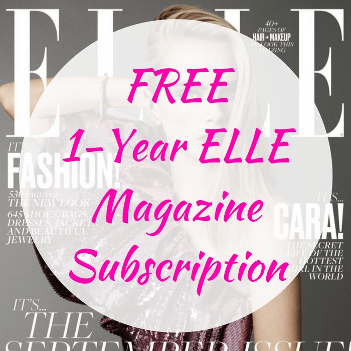 FREE 1-Year ELLE Magazine Subscription!