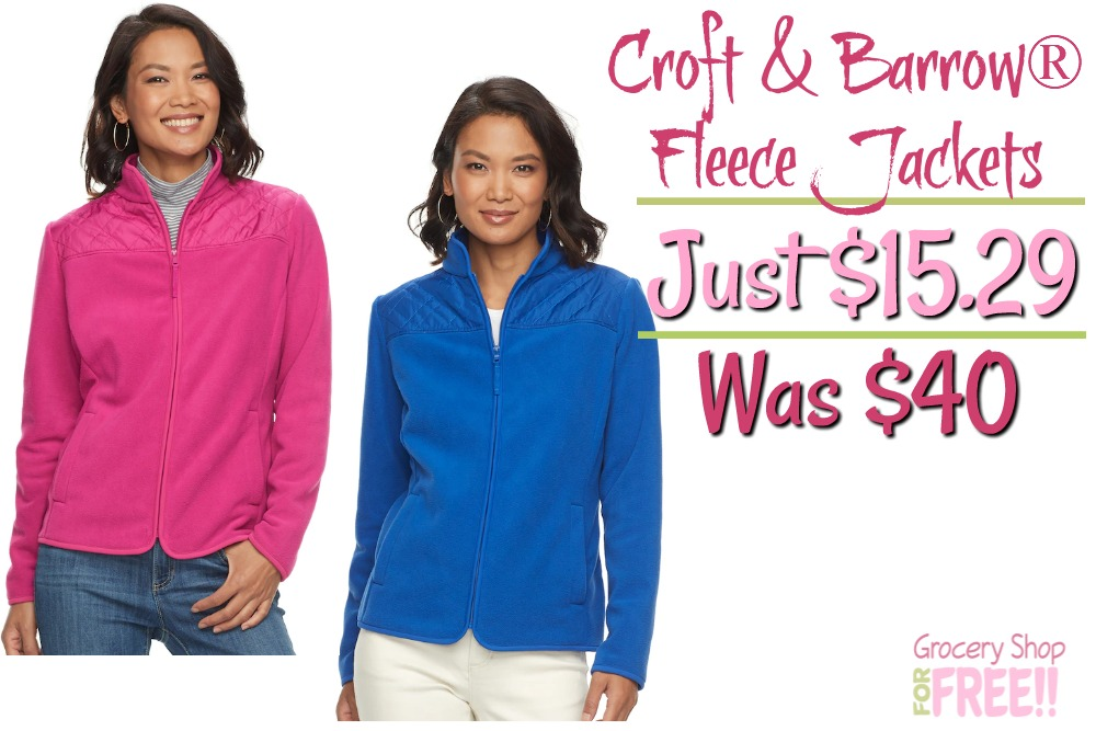 Women's Croft & Barrow® Quilted Yoke Fleece Jacket Just $15.29! Was $40!