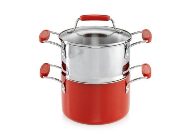 Martha Stewart Collection Cookware Plus 3-Qt. Covered Saucepan with Double Boiler
