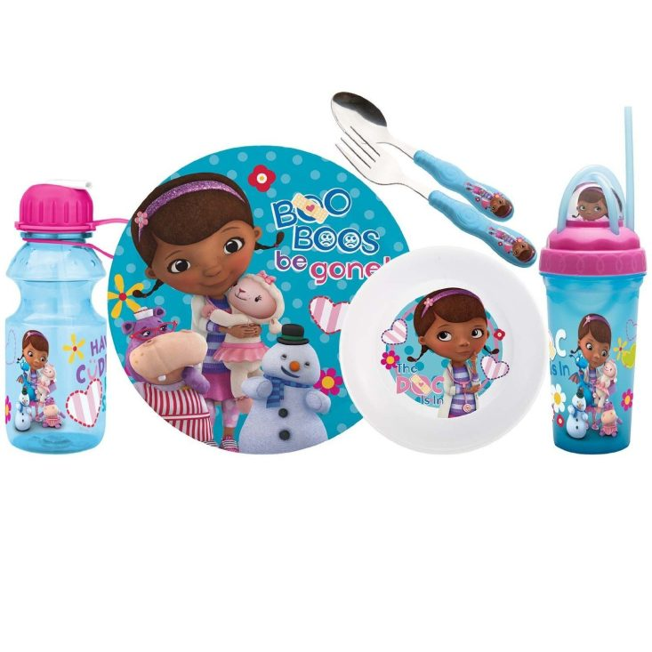 Zak! Designs Mealtime Set, Plate, Bowl, Tumbler, Water Bottle, Fork & Spoon with Doc McStuffins Graphics, BPA-Free, 6 Piece Set Only $7.05!