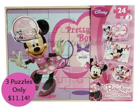 Disney Minnie Mouse Bow-tique 3 Wood Puzzles Set