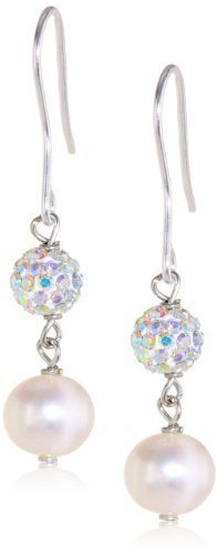 Freshwater Cultured Pearl and Crystal Fireball Drop Earrings Only $12 (Reg. $40)!