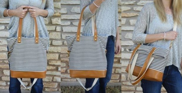 Gray Stripe Denim Tote Bag Just $26.99!