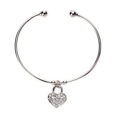 Silver Pave Heart Cuff Bracelet As Low As $4 SHIPPED!