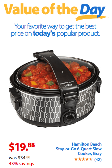 Hamilton Beach Stay-or-Go 6-Quart Slow Cooker $19.88 + FREE Store Pick Up (Reg. $34.88)!