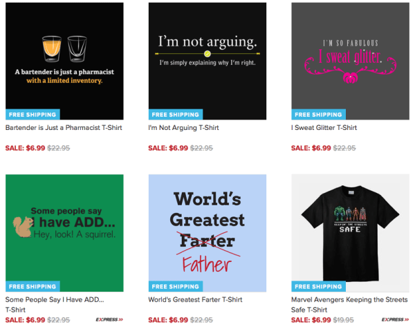 Funny T-Shirts On Clearance For $6.99 + FREE Shipping!
