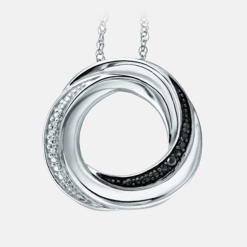 Black and White Diamond Accent Circular Pendant Only $19.99 + FREE Shipping (Reg. $119)!