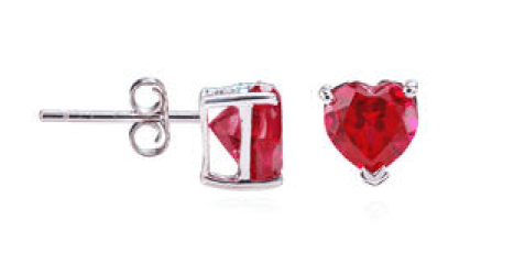 Sterling Silver Heart Shaped Created Ruby (5mm) Stud Earrings Just $8.49! Down From $39.99!