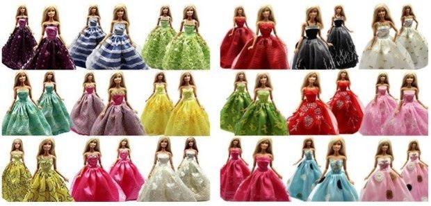 Handmade Fashion Wedding Party Gown Dresses & Clothes For Barbie Doll Just $8 Down From $16!  FREE Shipping!
