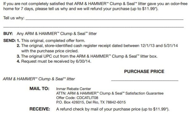 Printable Rebate Forms: Arm & Hammer Clump And Seal Cat Litter Money Back Guarantee!