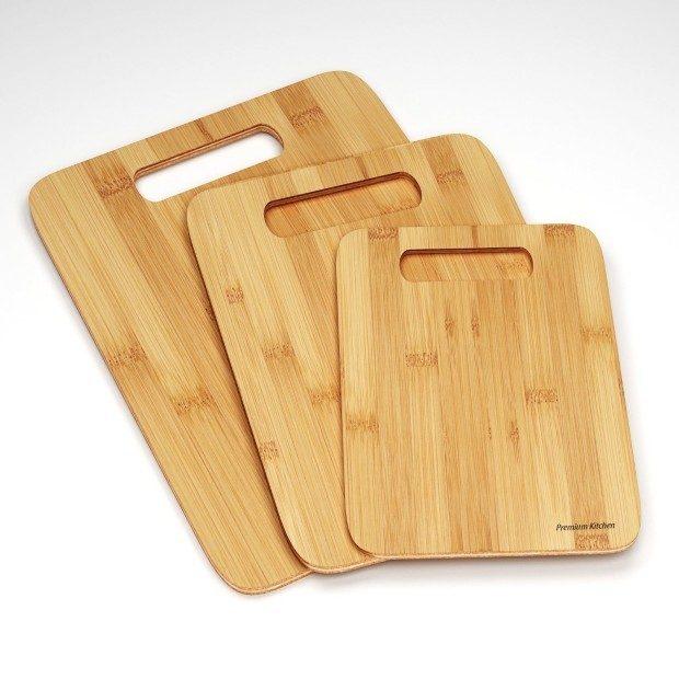 Premium Kitchen 3 Piece Bamboo Cutting Board Set Only $13.99!