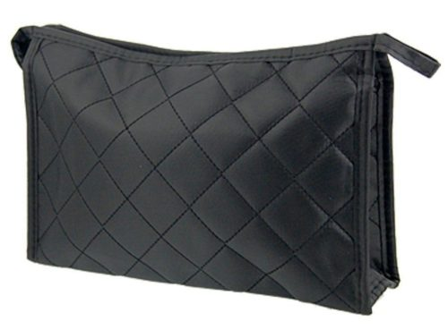 Zipper Closure Black Grid Makeup Bag