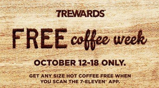 FREE Coffee At 7-11 All Week!