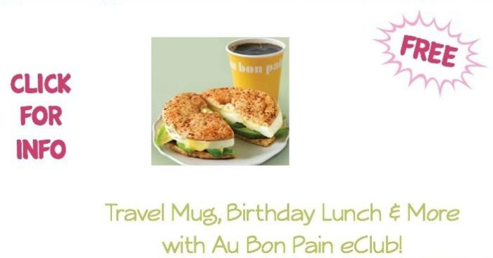 FREE Travel Mug, Birthday Lunch & More with Au Bon Pain eClub!