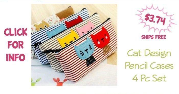 Cat Design Pencil Cases 4 Pc Set Just $3.74! Ships FREE!