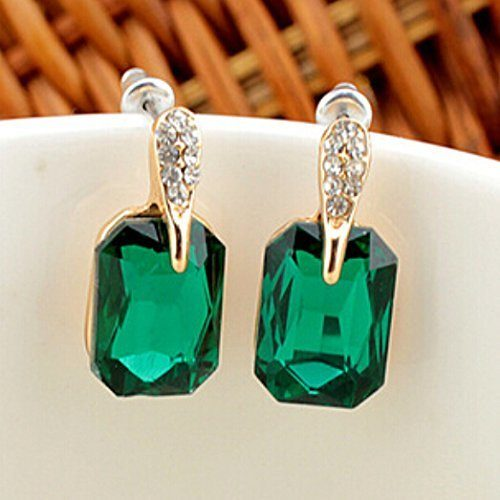 Graceful Green Square Crystal Earrings Only $2 Ships FREE!