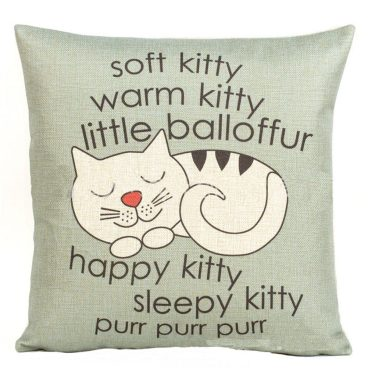 """Soft Kitty Warm Kitty..."" Cushion Cover Just $2.71 Ships FREE!"