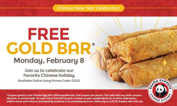 Monday 2/8 Only!  FREE Egg Roll At Panda Express!
