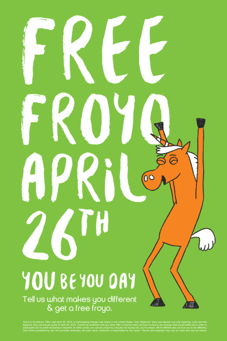FREE Froyo On Tuesday, April 26 At Orange Leaf!