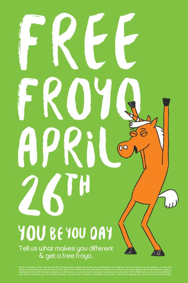 FREE Froyo On Tuesday, April 26 At Orange Leaf!