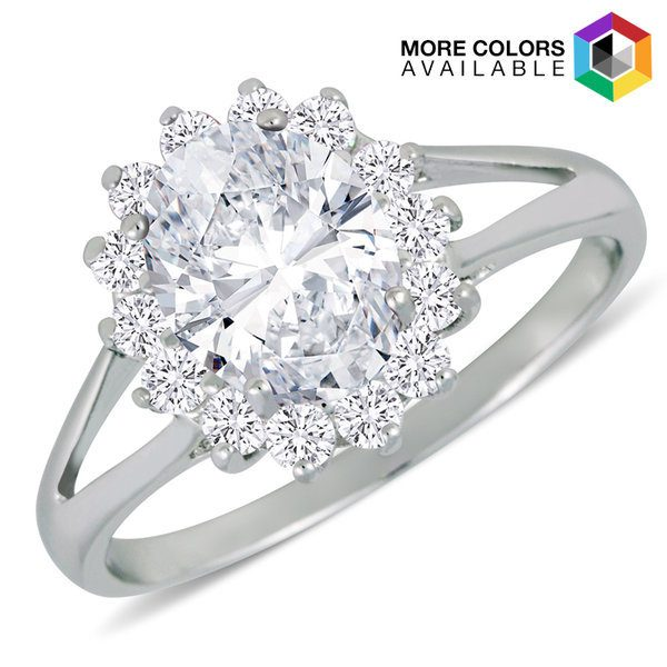 Silvertone Brass Halo Rings with CZ Gemstones Just $6.99! Down From $119.99! Ships FREE!