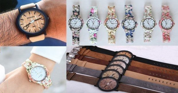 Watch Blowout - Floral Band Or Wooden Face Watches Only $7.99!
