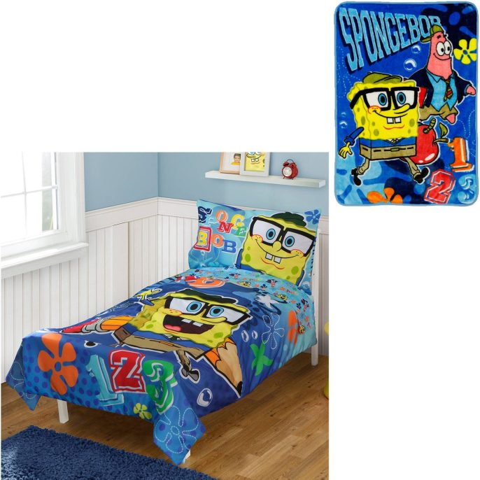 BONUS Blanket with Nickelodeon SpongeBob 4pc Toddler Bedding Set Just $19.99 Down From $54.00 At Walmart!